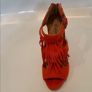 Red high heel sandals